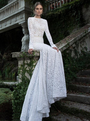 Lace Long Sleeve Backless Bridal Gown