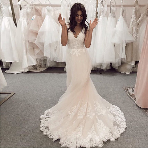 Elegant Lace Top Wedding Dress