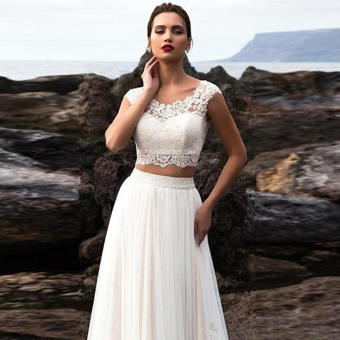 Two Piece Boho Wedding Gown
