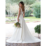 A-Line Court Train Wedding Dress