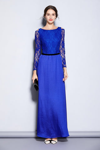 Keyhole Embroidery Long Sleeved Lace Dress