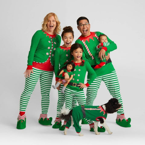 Green Long Sleeve Striped Christmas Family Matching Pajamas
