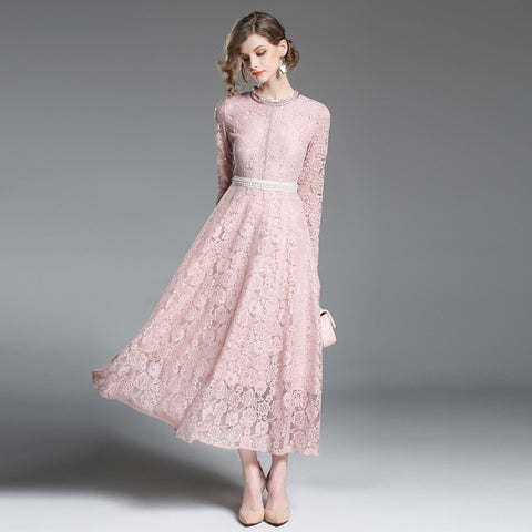 Pink Lace Ankle-Length Dress