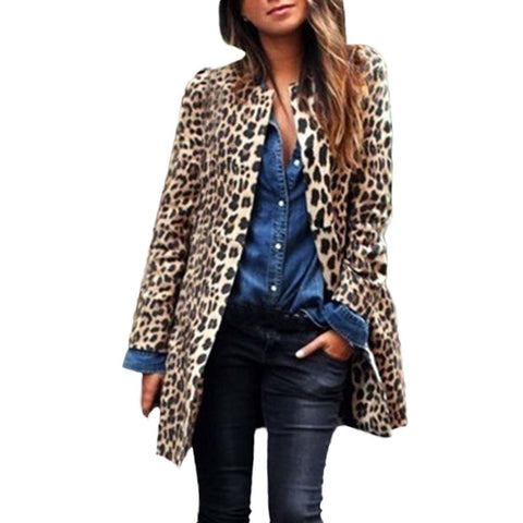 Leopard Printed Faux Fur Coat