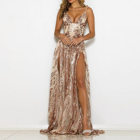 Sequined Fit and Flare Split Sides Dress