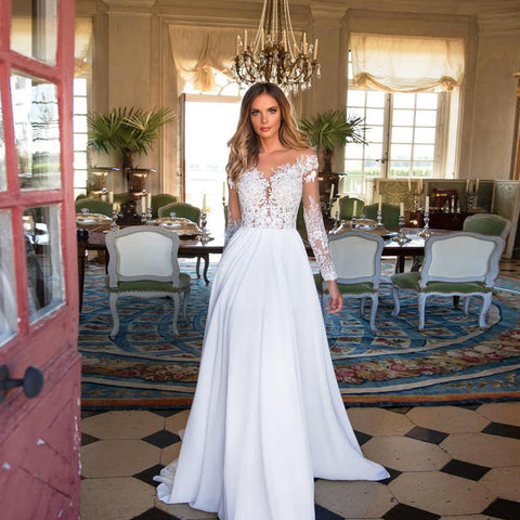 Long Sleeve Chiffon and Lace Wedding Dress