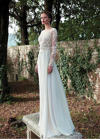 Long Sleeve Backless Chiffon with Lace Bridal Dress