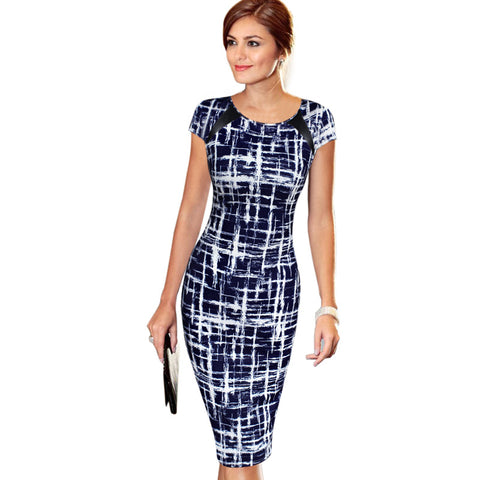 Blue and White Casual Pencil Dress