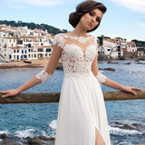 Chiffon Lace A-line Side Slit Side Bridal Dress