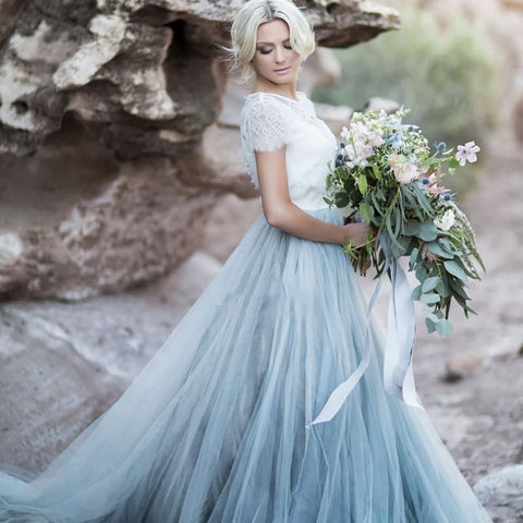 Sky Blue Short Sleeve Lace Bridal Gown