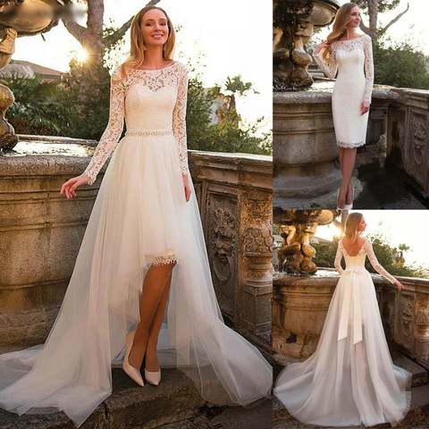 Long Sleeve Detachable Skirt Wedding Dress