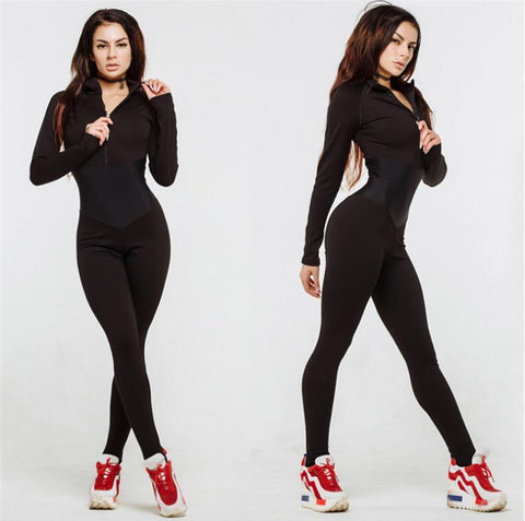 Full Sleeve Turtleneck Fitness Jumpsuit