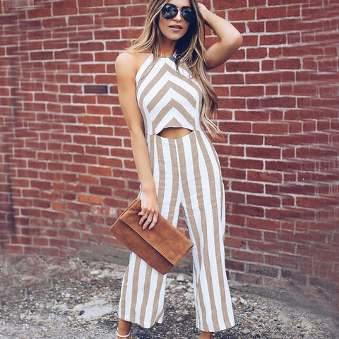 Khaki Striped Smart Casual Jumpsuit