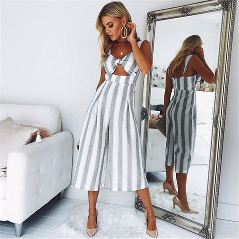 Gray Striped Smart Casual Jumpsuit