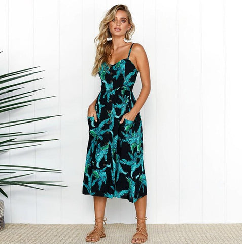 The Black Tropical Beach Dress