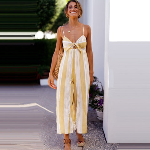 Yellow Striped Smart Casual Jumpsuit