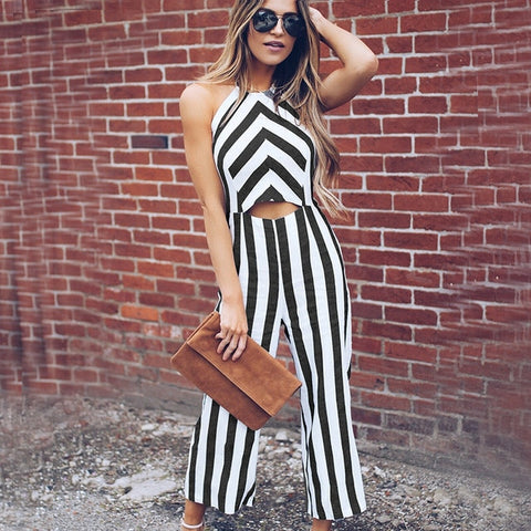 Black Striped Smart Casual Jumpsuit