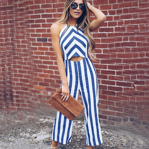 Blue Striped Smart Casual Jumpsuit