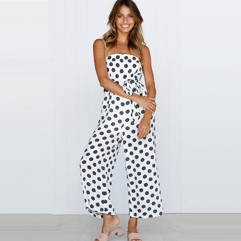 White Polka Dot Smart Casual Jumpsuit