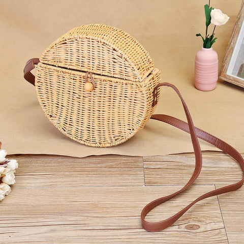 Circular Straw Beach Bag