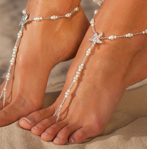 Barefoot Simulated Pearl Chain-in Anklets .