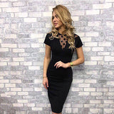 Knee Length Slim Black Bodycon Dress