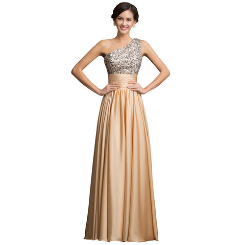 Gold Sequins Chiffon Long Evening Gown