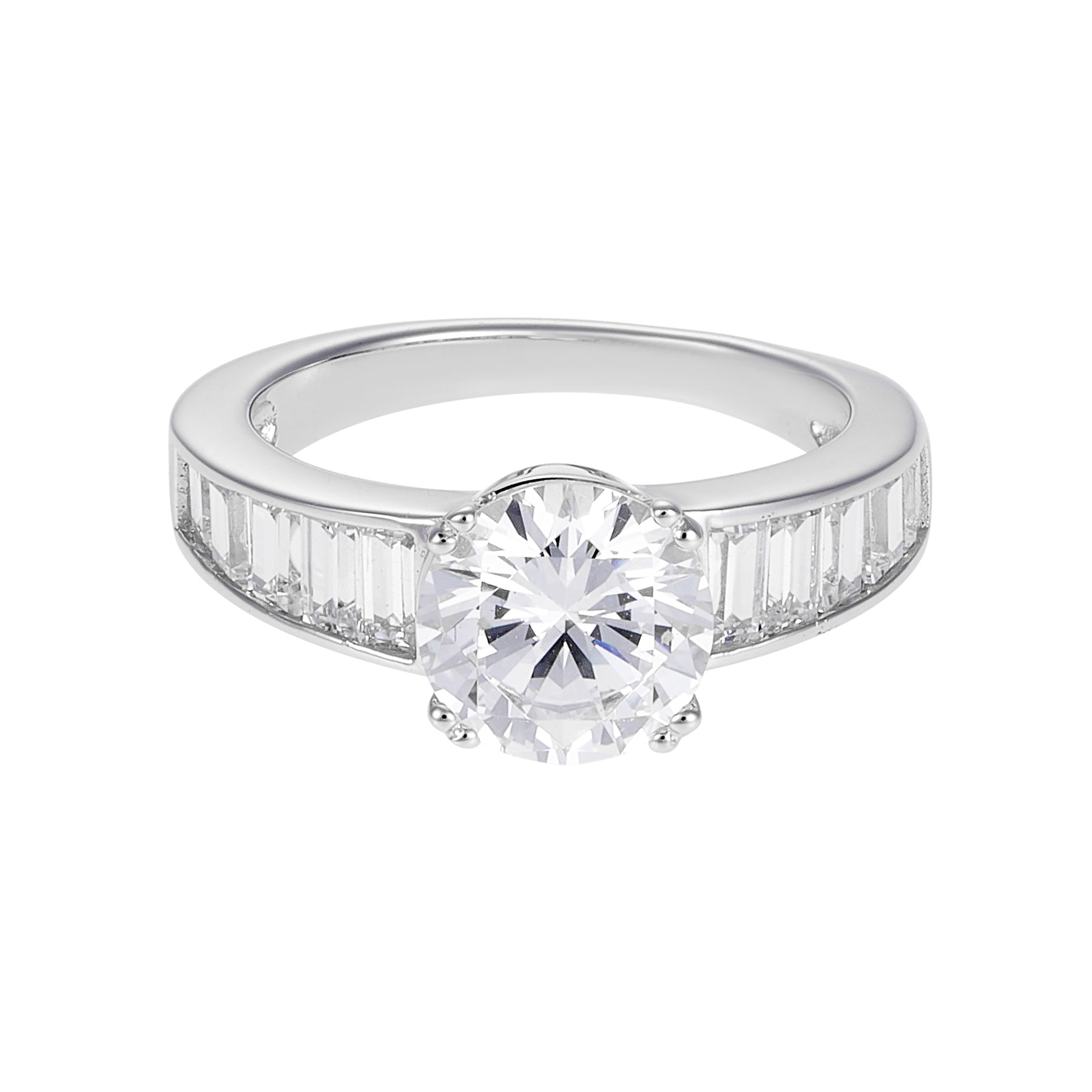 sterling silver round rings engagement cz center ring jewelry shaped