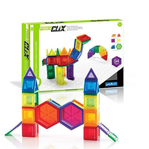 Guidecraft G9423 PowerClix Solids Magnetic Building Blocks Set, 94 Piece Magnetic Tiles