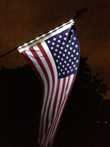 HomeBrite 77112 Solar Night Flag with Pole - Peazz.com - 1