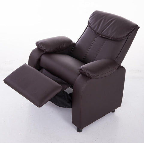 Mochi Furniture KR2002BRN Comfortable KR2002BRN Brown PU Leather Kids Recliner