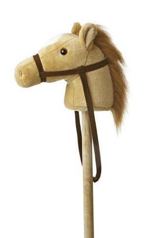 "Aurora 02418 World World Giddy-Up Stick Horse 37"" Plush, Beige - WarehouseSpot"