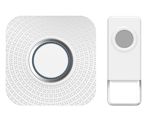 Wireless Waterproof Doorbell / Panic Button, B12 Series, 52 Chimes, White/Grey - 1,000 Ft Range