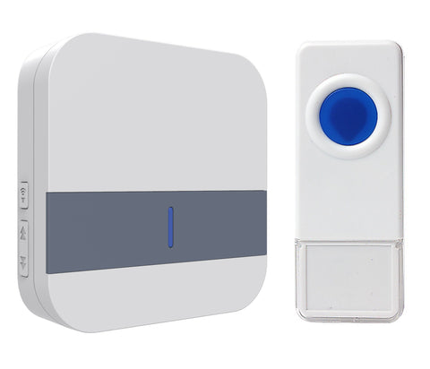 Wireless Waterproof Doorbell / Panic Button, B13 Series, 52 Chimes, White/Blue - 1,000 Ft Range - WarehouseSpot
