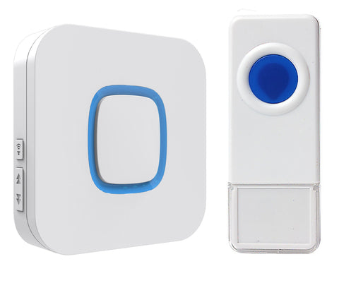 Wireless Waterproof Doorbell / Panic Button, B17 Series, 52 Chimes, White - 1,000 Ft Range - WarehouseSpot