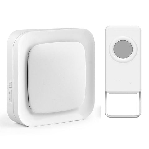 Wireless Waterproof Doorbell / Panic Button, B21 Series, 52 Chimes, White - 1,000 Ft Range - WarehouseSpot