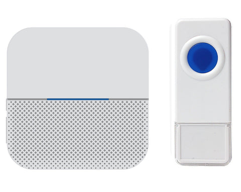 Wireless Waterproof Doorbell / Panic Button, B6 Series, 52 Chimes, White/Blue - 1,000 Ft Range - WarehouseSpot