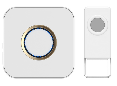 Wireless Waterproof Doorbell / Panic Button, B9 Series, 52 Chimes, White/Grey - 1,000 Ft Range