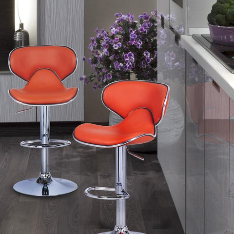 Furnistars Bareneed Orange Modern Bar Stools with Backs (Set of two) - Peazz.com