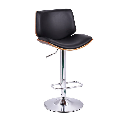 Furnistars Black Leatherette and Walnut-Color Wood Bar Stool with Low Back - Peazz.com