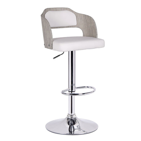 Furnistars Notviken White Leatherette Modern Bar Stool with Back - Peazz.com