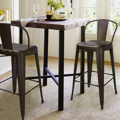 Furnistars Bronze Metal Bar Stools With Back (Set of 2) - Free Shipping! - Peazz.com