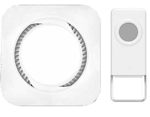 Wireless Waterproof Doorbell / Panic Button, B16 Series, 52 Chimes, White - 1,000 Ft Range
