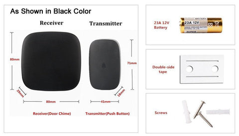 Wireless Waterproof Frosted Doorbell / Panic Button, H1 Series, 52 Chimes, Black - 1,000 Ft Range