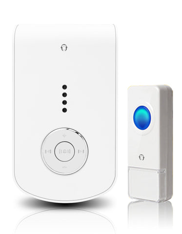 Wireless Waterproof MP3 Doorbell / Panic Button, MP3 Series, 52 Chimes, White - 1,000 Ft Range - WarehouseSpot