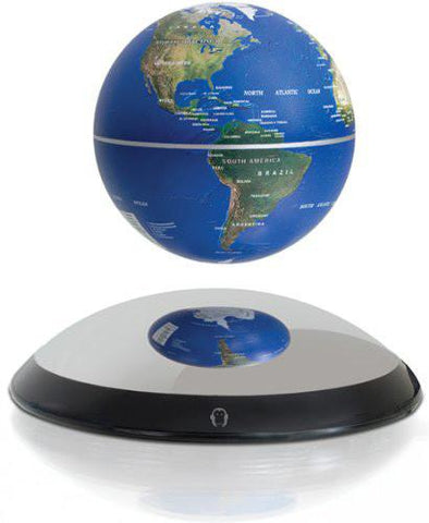 "4"" Magnetic Rotating Anti-Gravity Floating Levitating Globe, Dark Blue, Mirror Base (Glossy Finish) - WarehouseSpot"