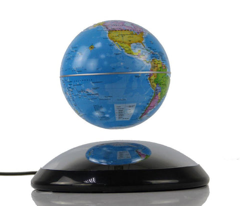 "4"" Magnetic Rotating Anti-Gravity Floating Levitating Globe, Light Blue, Mirror Base (Glossy Finish) - WarehouseSpot"