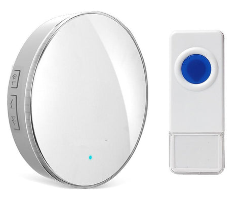 Wireless Waterproof Doorbell / Panic Button, D1 Series, 52 Chimes, White - 1,000 Ft Range