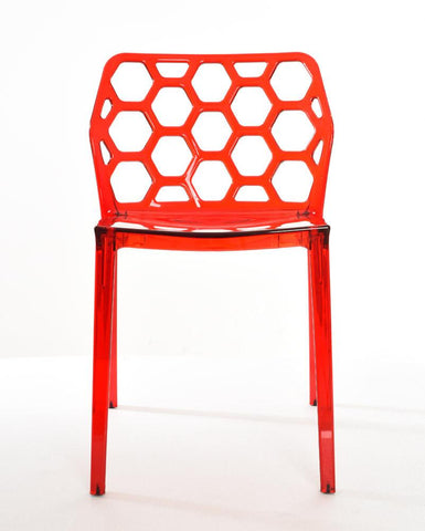 Mochi Furniture Transparent Modern Polycarbonate Armless Dining Chair - Red (Set of 4)