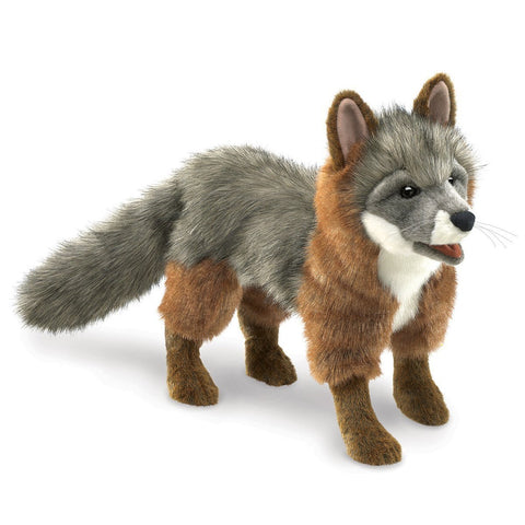 Folkmanis 3032 Gray Fox Hand Puppet - WarehouseSpot